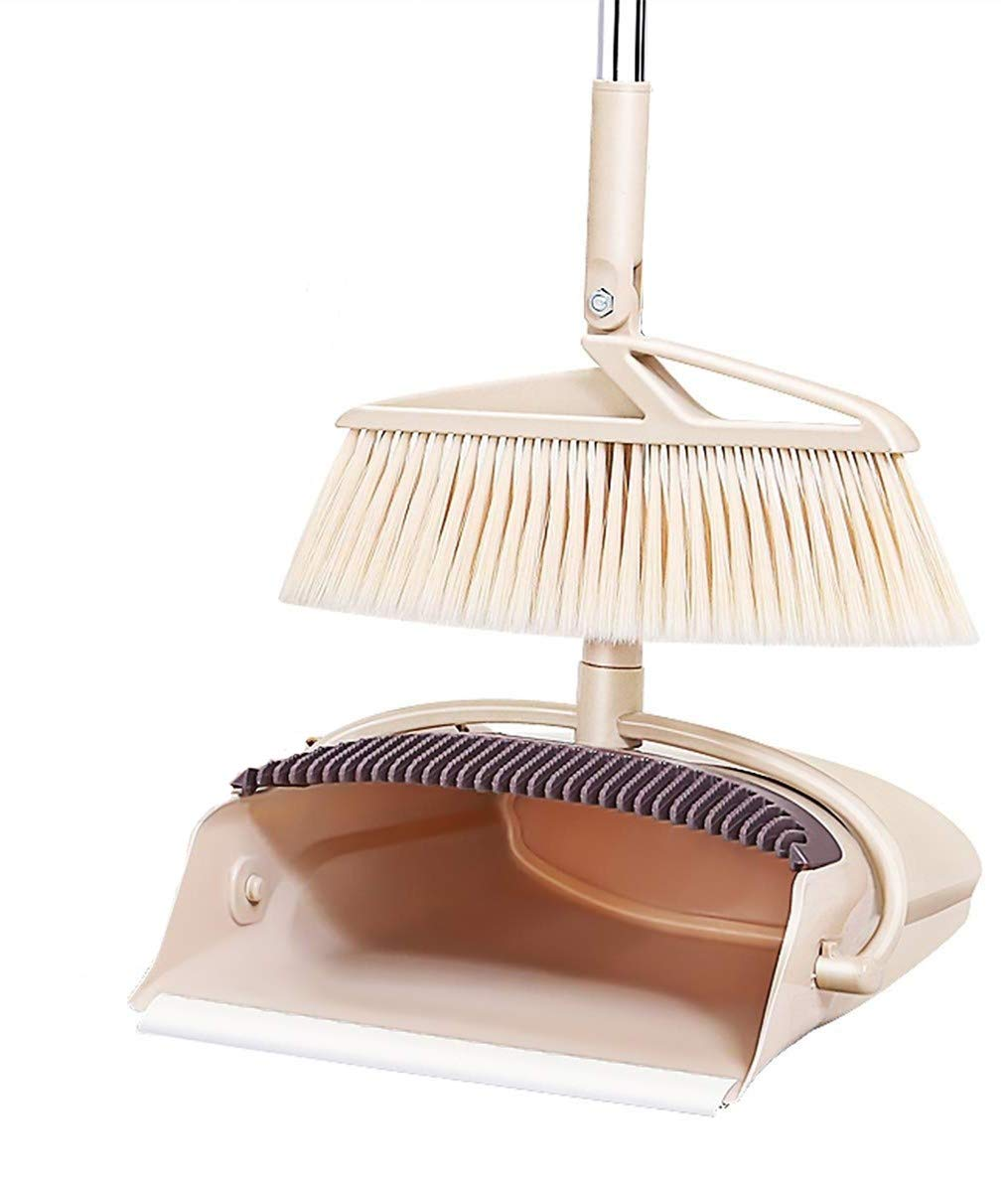 Foldable Broom and Dustpan Set Combo Artifact Standing Upright,180 Degree Rotation,Home or Office Sweep by CLEVER BEAR