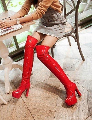 Tacón Negro Zapatos Cuero Vestido La Mujer Plataforma Black Eu40 Botas Cn41 Patentado Uk2 5 Robusto Casual Rojo Moda Uk7 Blanco 2 us4 4 De Xzz us9 A Eu34 Red Cn33 5 6dtx7wq6v