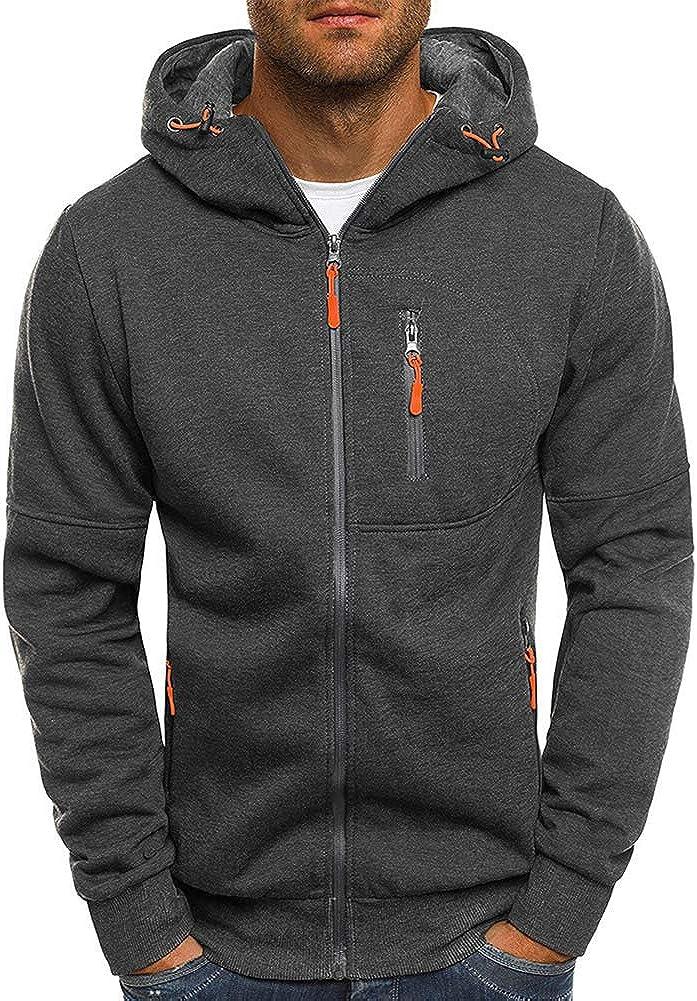 Rela Bota Mens Fashion Hoodie Full-Zip Long Sleeve Zipper Lightweight Fluorescent Color Pullover