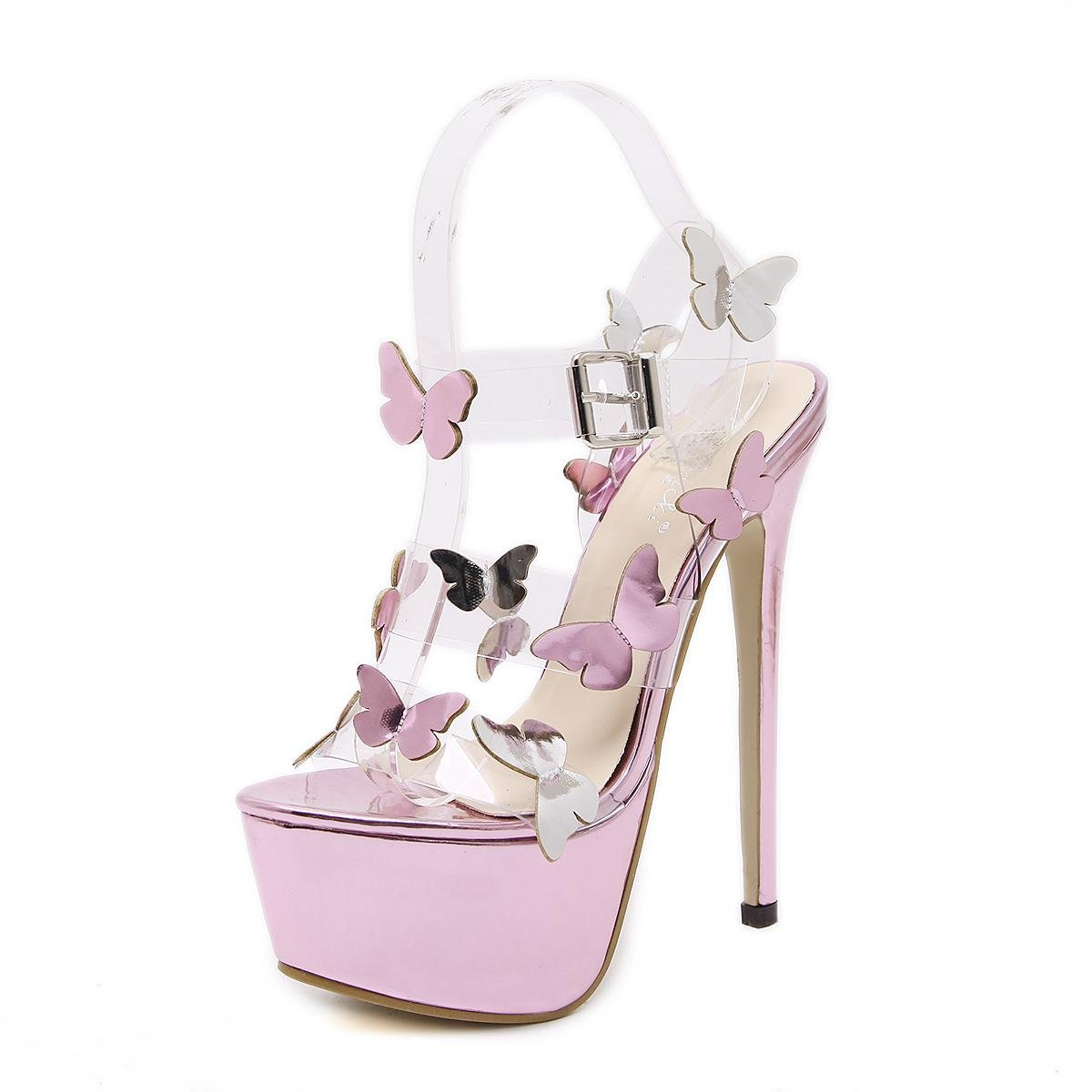 Femmes plate-forme hauts talons robe de robe danse Femmes sandales pink confortables pink 423b422 - therethere.space