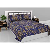 Aurome Microfiber (120 GSM) Double bedsheet with 2 Pillow Covers- Royal Bloom