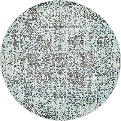 - Light Blue 8' 4 Feet Round St. Tropez Collection Traditional and Modern Area Rugs and Carpet, Home Decorations Area Rugs Floor Mats