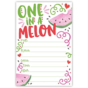 amazon com one in a melon birthday party invitations 20 count