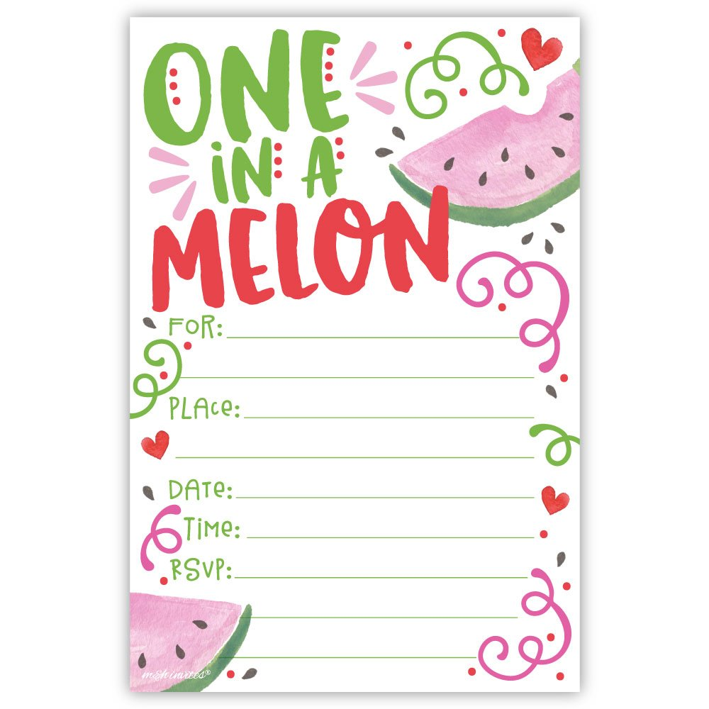 One In A Melon Birthday Party Invitations (20 Count) with Envelopes by m&h invites