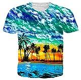 Idgreatim Teen Boys Coconut Tree Printed Aloha Hawaiian Shirt Graphic Tees