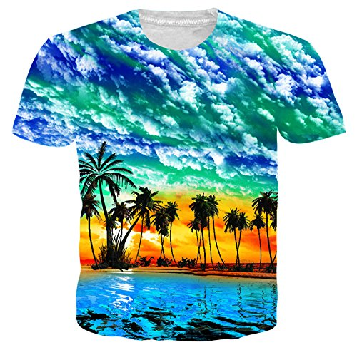 Idgreatim Juniors Ocean Scenic Printed Aloha Hawaiian Shirt Short Sleeve Tees (Hawaiian Shirt Scenic Print)