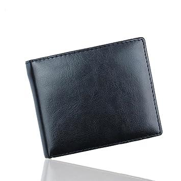 AIMEE7 cartera para hombre Hombre Bifold Cartera billetera de cuero Titular de la tarjeta de crédito Bolsillos monedero (Negro, 11*9.5*1): Amazon.es: ...