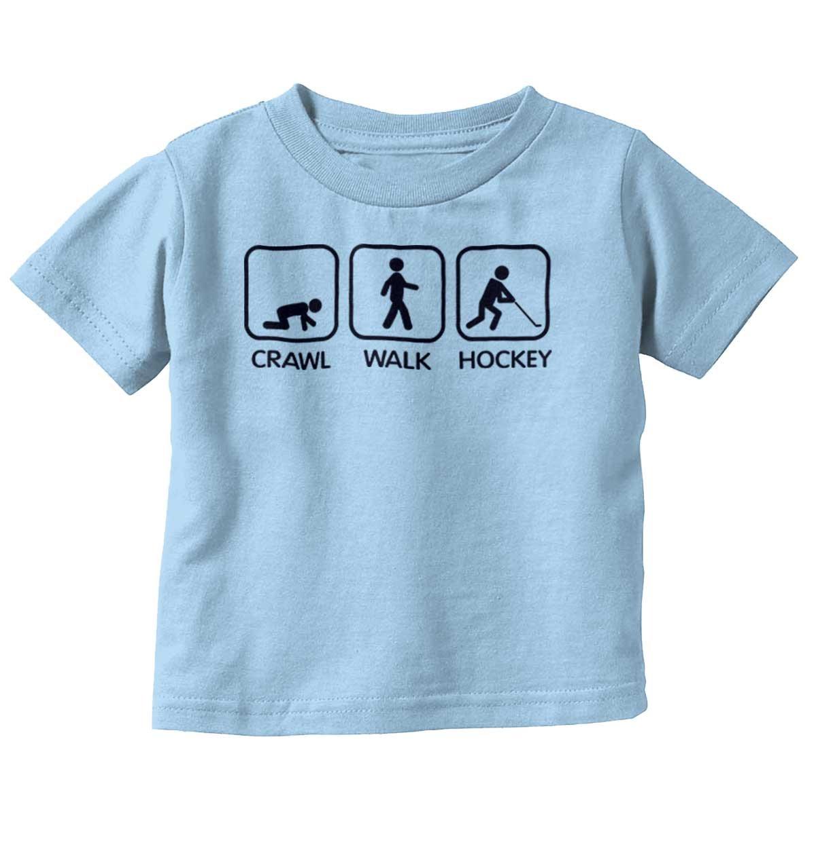 Brisco Brands Crawl Walk Hockey Funny Shirt | Cute Baby Gift Sports Canada Toddler Infant T
