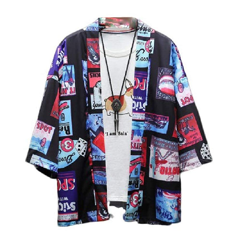 Abetteric Mens Splicing Kimono T Shirt Floral 3//4 Sleeve Summer Cardigan