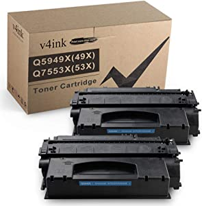 V4INK Compatible 49X 53X Toner Cartridge Replacement for HP 49X Q5949X 53X Q7553X for use in HP Laserjet P2015dn P2015 P2015d 1320 1320n 3390 3392 M2727nf P2014 P2010 Printer (Black,2 Packs)