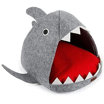 Wuwenw Perro De Peluche Colchón Tiburón Camada De Gato Cama para Mascotas Naturaleza Gato Casa Otoño E Invierno Teddy Perro Cálido Extraíble Lavable: ...