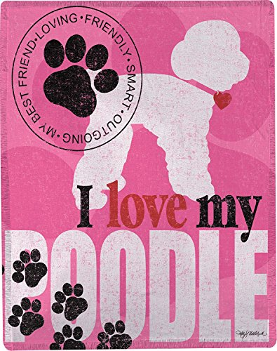 Poodle Throw - Manual I Love My Poodle Woven Decorative Throw Blanket by Kathy Middlebrook 50x60