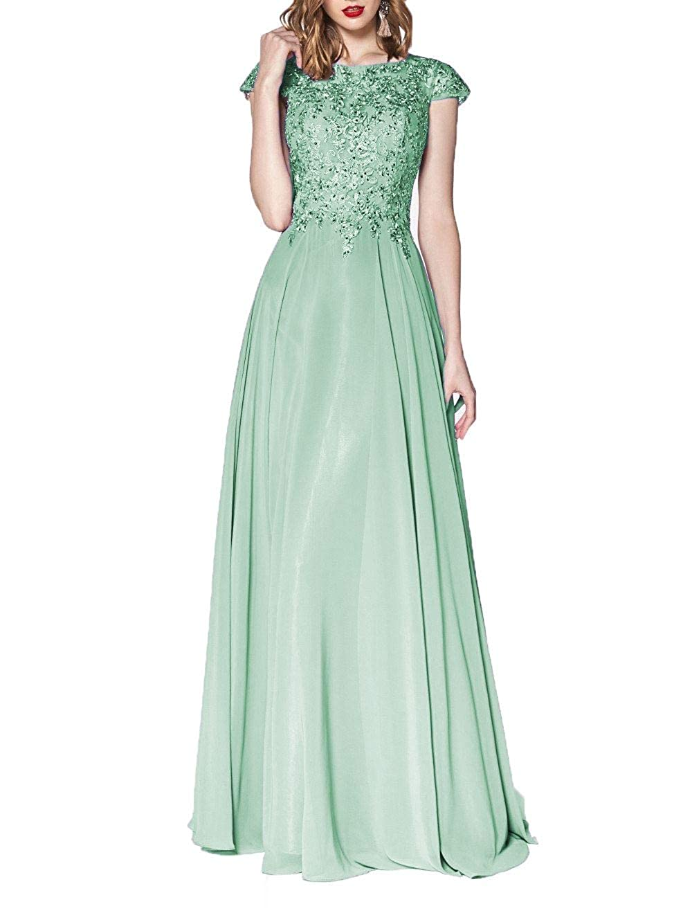 Light Green Wanshaqin Women's Illusion Neckline Jeweled Waist Long Evening Gown Prom Formal Dress Bridesmaid Gown