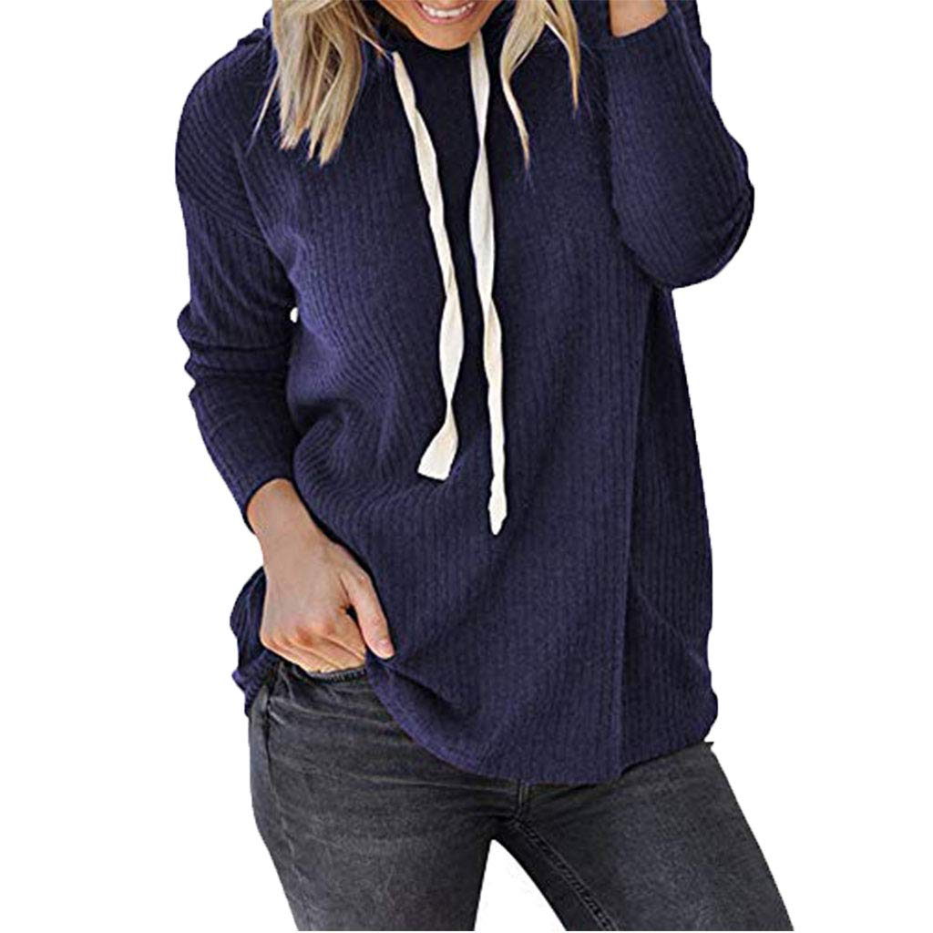 ✩HebeTop Women Long Sleeve Hooded Asymmetric Hem Wrap Hoodie Sweatshirt Outwear Tops Blouse Blue by ▶HebeTop◄➟HOT SALES