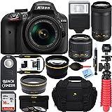 Nikon D3400 24.2MP DSLR Camera with AF-P 18-55 VR and 70-300m Lenses (1573B) - (Certified Refurbished) (18-55 VR and 70-300 2 Lens Deluxe Kit)