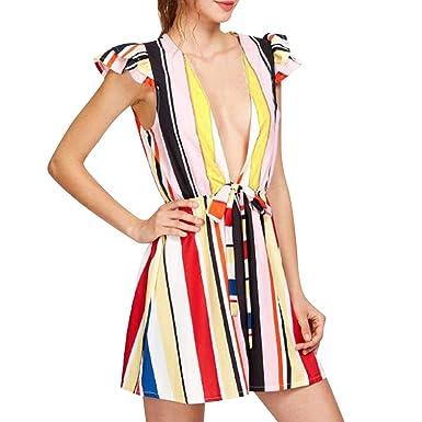 0ad07f90ec1f Amazon.com  Maoyou Women s Deep V-Neck Tie Waist Short Jumpsuit Bohemian  Striped Print Casual Romper  Clothing