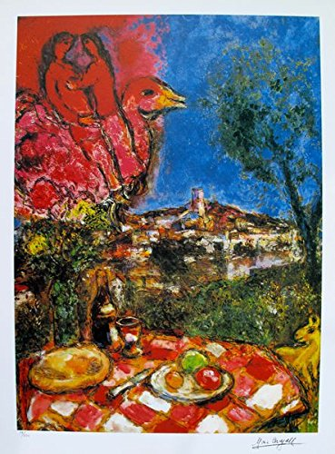 Art by Marc Chagall Lovers Over City Limited Edition Signed Lithograph Print. After the Original Painting or Drawing. Measures 34 Inches X 23 Inches Paper. Printed On Thick High Quality Arches Pape ()