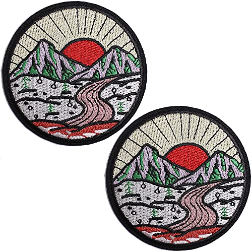 TACVEL The Sun Goes Up The Mountain Embroidered Patches Iron on/Sew on Emblem Patches Applique for Jackets, Jeans, Backpacks, Caps
