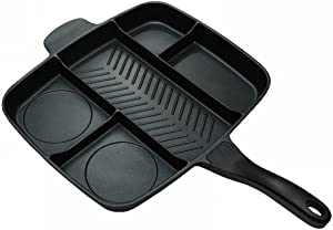 Youzee Fryer Pan Non-Stick 5 in 1 Fry Pan Divided Grill Fry Oven Meal Skillet 15