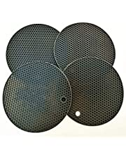 """7""""X7"""" Round Silicone Pot Holder, Drying Trivet Mat, Jar Opener and Spoon Rests, (Set of 4) Non Slip, Flexible, Durable, Dishwasher Safe Heat Resistant Hot Pads Color Mixed,Black,Grey, Brown"""