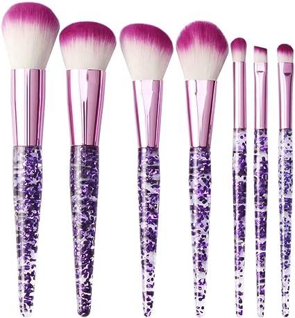 TUDUZ Brochas Maquillaje Profesional 7 Piezas Pincel De Maquillaje Brillante Polvo De Sombra De Ojos Cepillos De Base (PúRpura): Amazon.es: Belleza