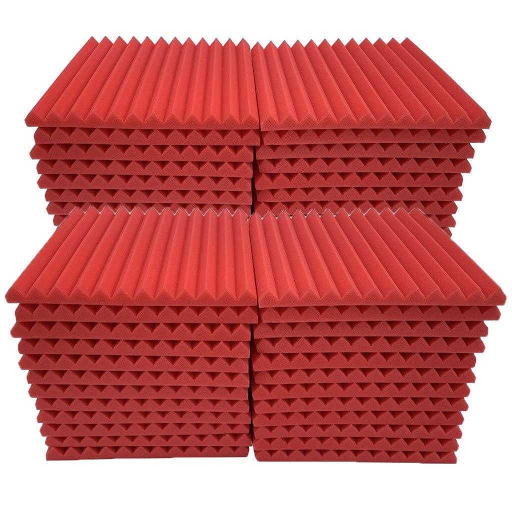 Soundproof Foam, 48Pcs Acoustic Panels Studio Foam Wedges Fireproof Soundproof Padding Wall Panels for Studio and KTV etc (Red)
