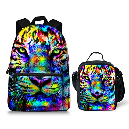 Tiger Backpack - Colorful Tiger Pattern Backpack Women School Kids Bookbags with Lunchbox bag