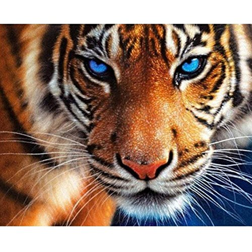 (5D Diamond Painting Kit Tiger Full Drill DIY Rhinestone Embroidery Cross Stitch Arts Craft for Home Wall Decor 11.8x13.8)