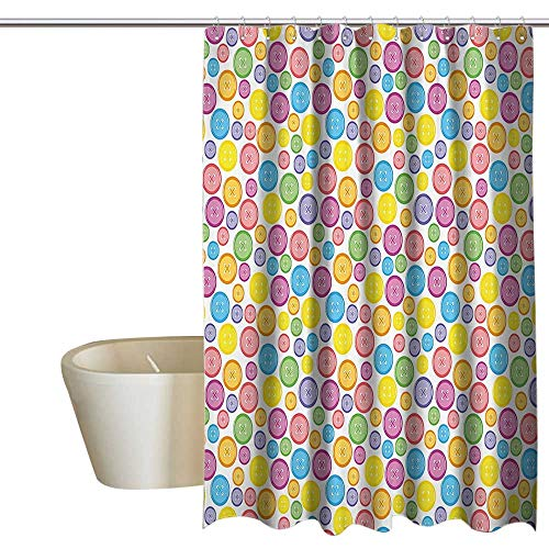 EwaskyOnline Modern Floral Shower Curtain Circular Shaped Buttons Pattern in Various Sizes Artistic Kids Nursery Baby Print Modern Shower Curtain W55 x L84 Multicolor ()