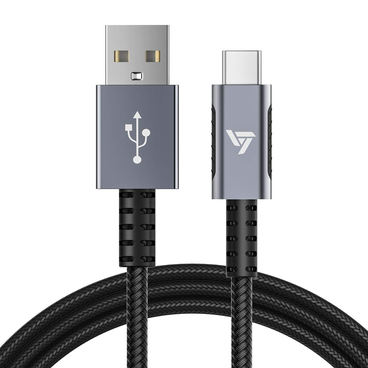 VicTsing Type-C USB Charger Cable, 2 Pack( 6.6ft/2M ) Samsung Charging Cable for Galaxy S9 A5 2017 S7 S8 S9 Plus Note 8, LG G6 G5 V20 V30, HTC, Google Pixel 2, Huawei, OnePlus 2, 5V/3A 56K Nylon Braided Tangle-Free USB-C to USB A Fast Charger Cord, Silver