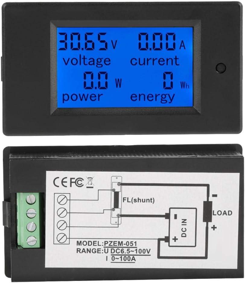 50A PEACEFAIR PZEM-051 Num/érique Puissance /Électrique /Énergie Tension Courant Compteur Puissance /Énergie Moniteur de Batterie Amp/érage Compteur Jauge avec Int/égr/é Shunt