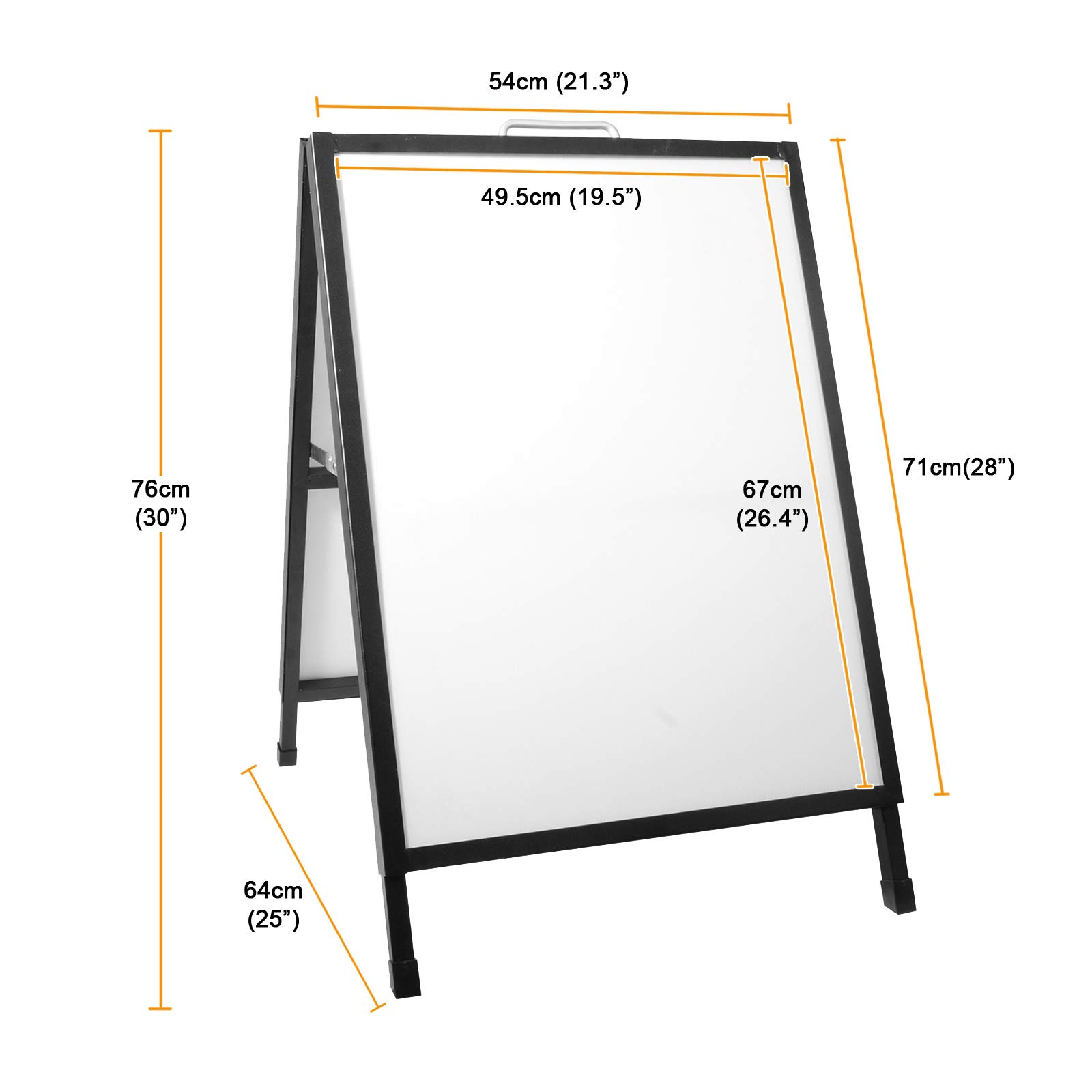 Voilamart Pavement Sign A-Board Sign Display Pavement Board Heavy Duty Steel A-Frame Double Sided Poster Stand Holder for Outdoor Advertising Shop with 2 PVC Panels