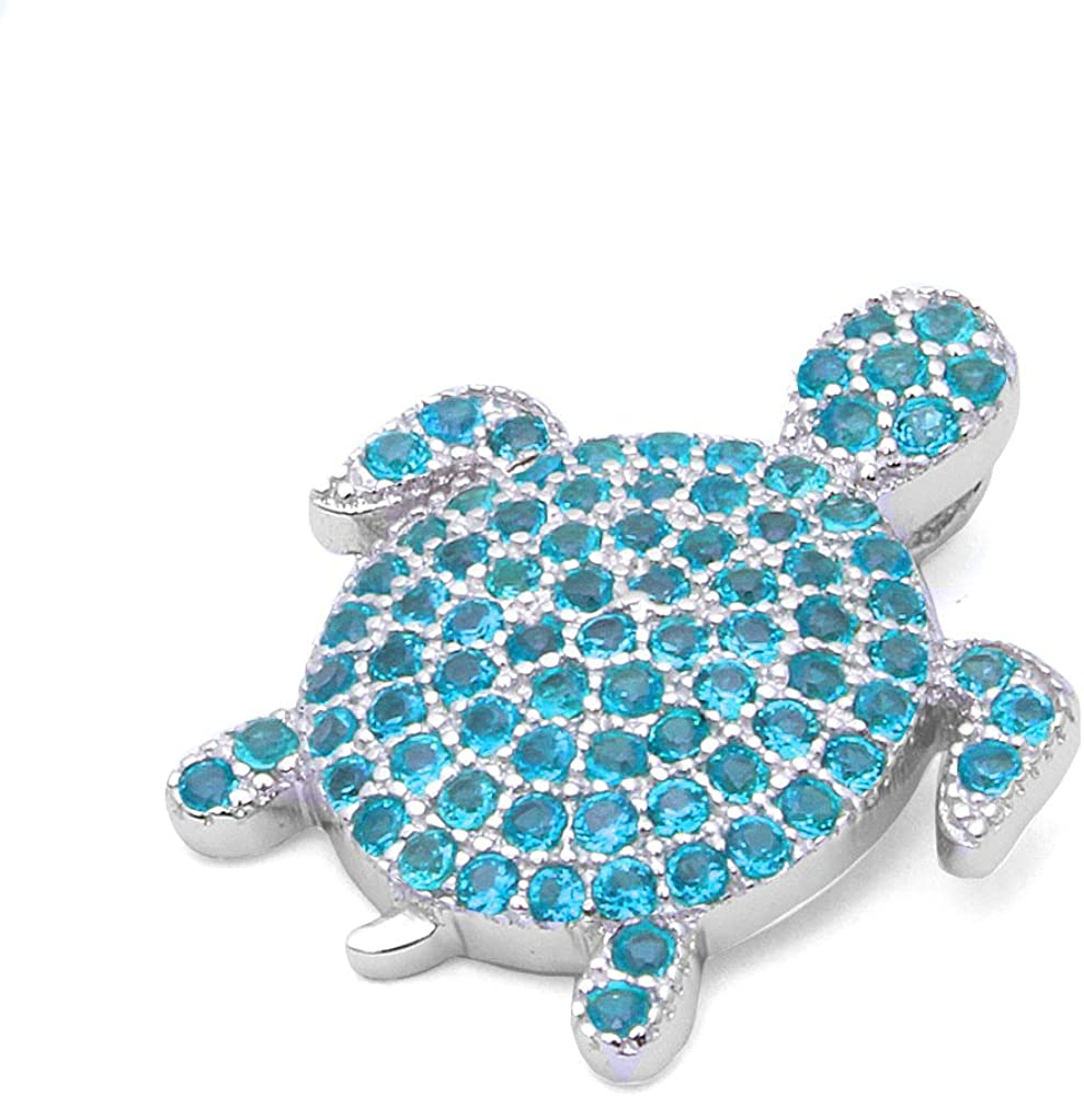 Pave Simulated Gemstone Turtle .925 Sterling Silver Pendant Colors Available