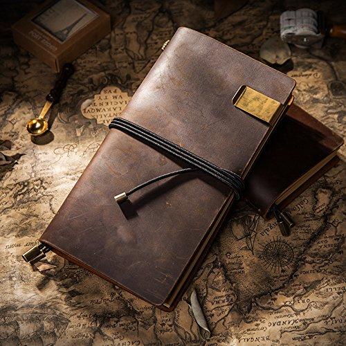 GN& LM Fatte a mano in cuoio, pelle Taccuino di viaggio, Leaf ufficiale, Traveler Notebook,blu scuro 22*12.5cm GN&LAOMU