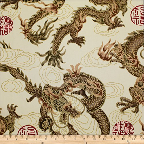 Trans-Pacific Textiles Asian Good Luck Dragon with Gold Beige Fabric by The Yard (Dragons Good Luck)