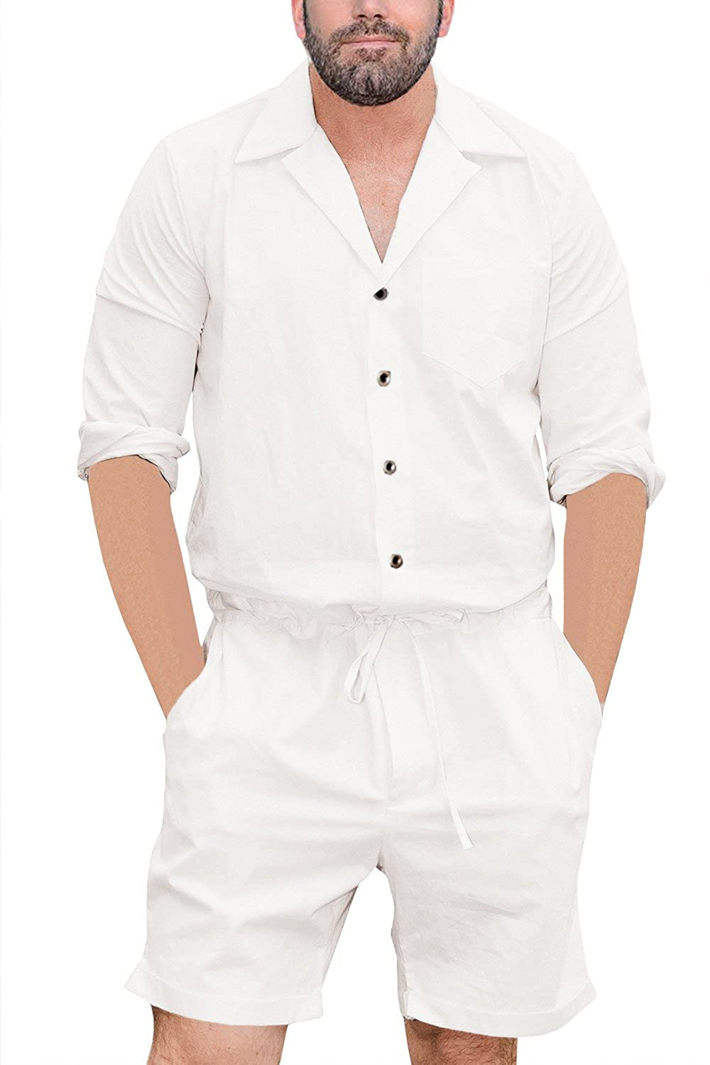 Makkrom Mens Romper One Piece Button Up Short Sleeve Jumpsuit Shorts Casual Solid Overall