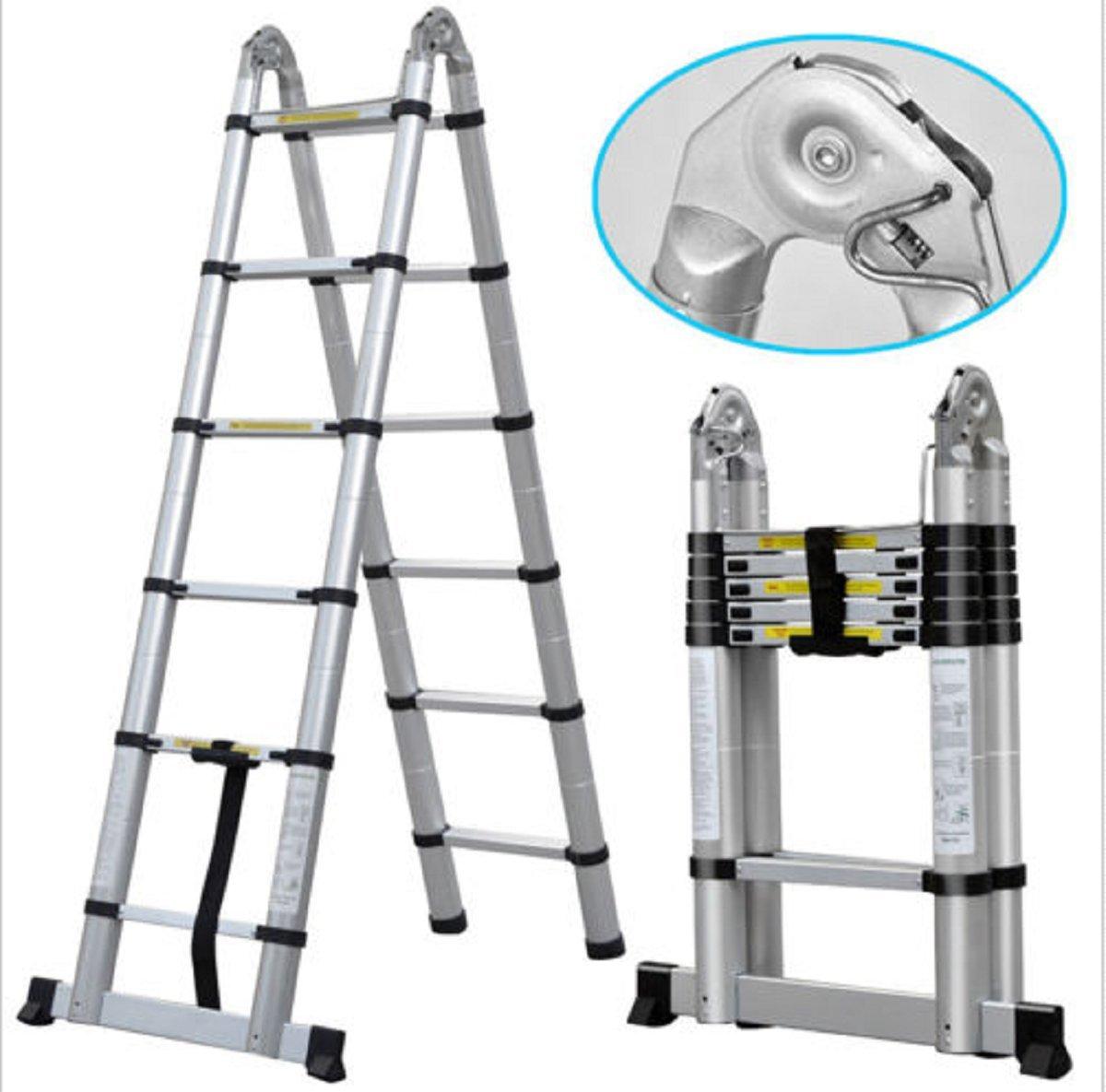 USA Premium Store 12.5FT Aluminum Extension Fully Extendable Telescopic Ladder Multi-purpose by USA Premium Store