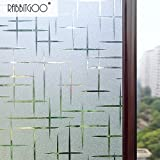 Rabbitgoo® 3D Cross Pattern Frosted No Glue Static Cling Privacy Glass Window Films 2.95ft By 6.5ft (35.4In by 78.7In)