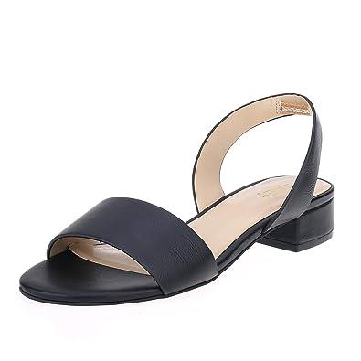 17d6cd5d3f5 Zriey women comfortable low heel sandals open toe chunky block heeled  sandals black size jpg 395x395