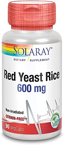Solaray Red Yeast Rice 600mg Healthy Heart Cardiovascular System Support Non-Irradiated No Citrinin Lab Verified 90 VegCaps