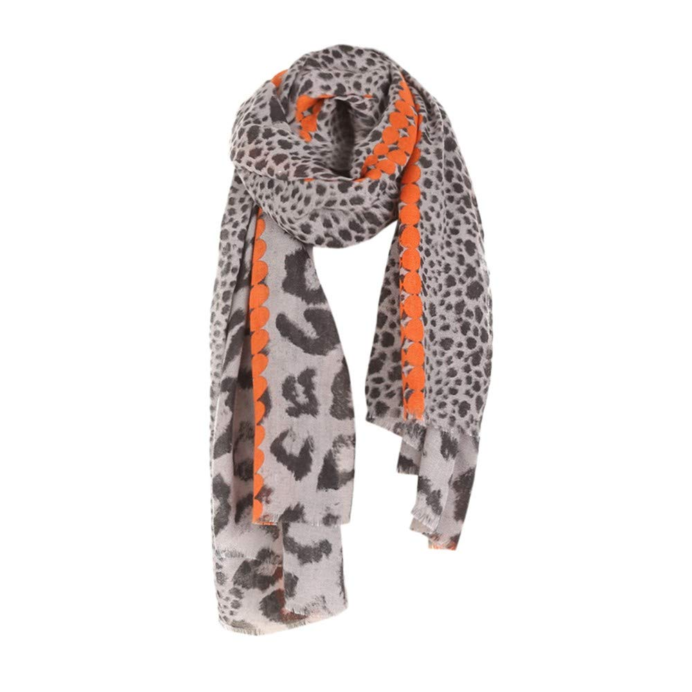 Women Winter Leopard Tassel Cotton Linen Color Block Scarf Shawl Wrap Cover
