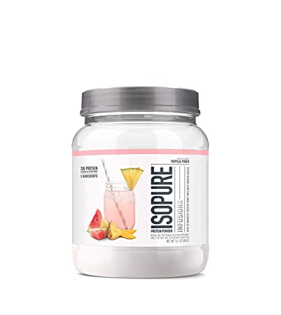 ISOPURE INFUSIONS, Refreshingly Light Fruit Flavored Whey Protein Isolate Powder, Shake Vigorously Infuses in a Minute , Tropical Punch, 16 Servings
