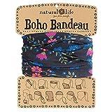 Natural Life Boho Bandeau Black & Pink Ivy Pattern