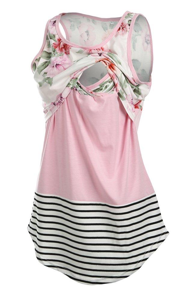 Pinleck Women Breastfeeding Nursing Tops Striped Floral Lace Stitching Tank Top Vest T-Shirt