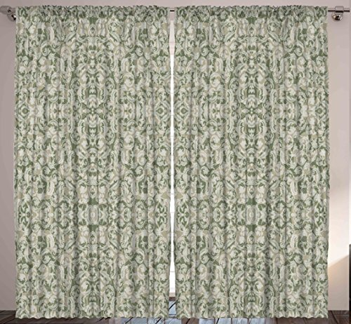 Rustic Decor Damask Victorian Vintage French Curtains for Living Room Bedroom Classic Elagant Home Decor House Decorations Curtain Two Panels Set 108 By 90 Inches, Taupe Green