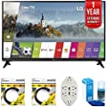 LG 55-inch Full HD Smart TV 2017 Model (55LJ5500) with with 2x 6ft High Speed HDMI Cable, Transformer Tap USB w/ 6-Outlet, Screen Cleaner for LED TVs & 1 Year Extended Warranty