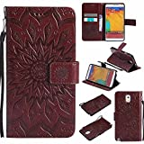 Galaxy Note 3 Case, Dfly Premium Soft PU Leather Embossed Mandala Design Kickstand Function Card Slots Slim Flip Wallet Cover for Samsung Galaxy Note 3, Brown