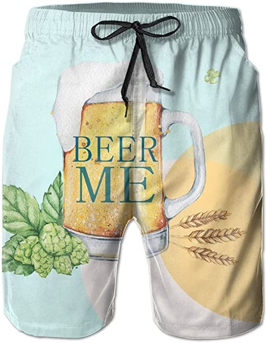 Mens Beer Me Can You Summer Printed Quick Dry Board Shorts Bathing Suits Swimwear Swim Trunks Beach Shorts
