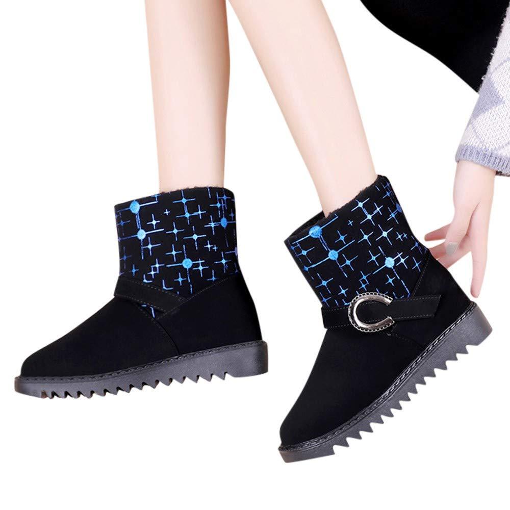 SamMoSon Botas Mujer Invierno Altas Negras Tacon Marrones,Botas De Nieve De Metal Cálido Y Envejecido Medio para Mujer Zapatos De Punta Redonda: Amazon.es: ...