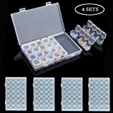 4 Pack 28 Slots Diamond Embroidery Boxs, 5D Diamond Painting Storage Case for DIY with 196 Pieces Craft Label Marker Sticker